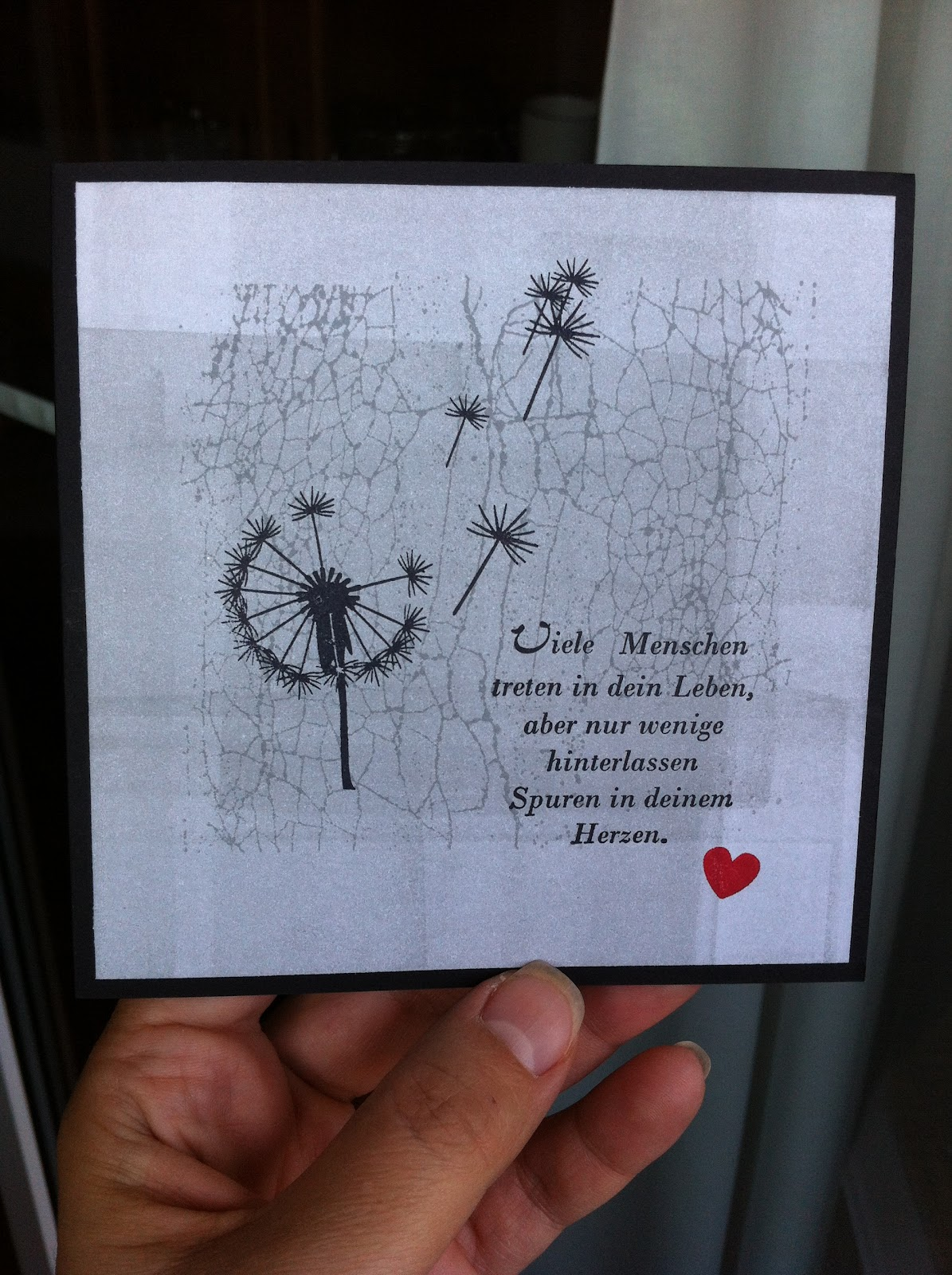 Stempel Pusteblume, Alexandra Renke , La Blanche, Trauerkarte