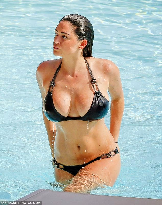 Photos: Casey Batchelor Looks Sexy in Plunging Black Bikini in Portugal 5