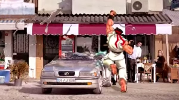Ryu, car insurance ad destroy car bonus video