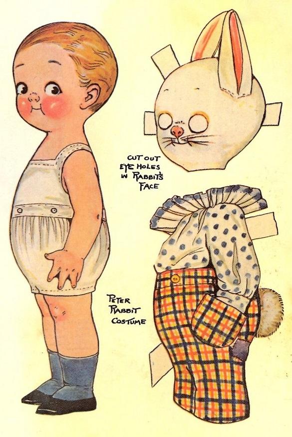 Винтажные бумажные куклы с одеждой для вырезания
