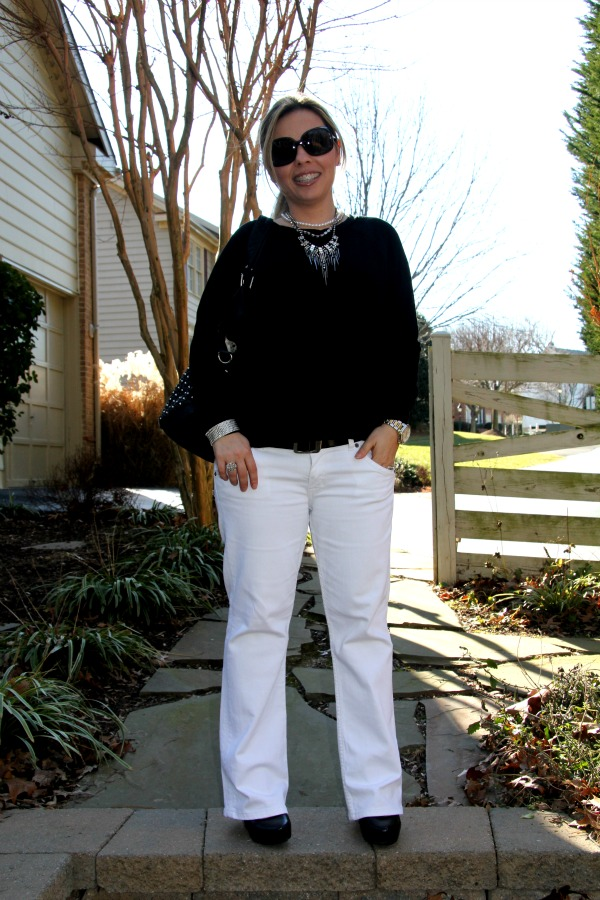 Casual outfit, Hudson Signature White Jeans and LnA Bristol Sweater