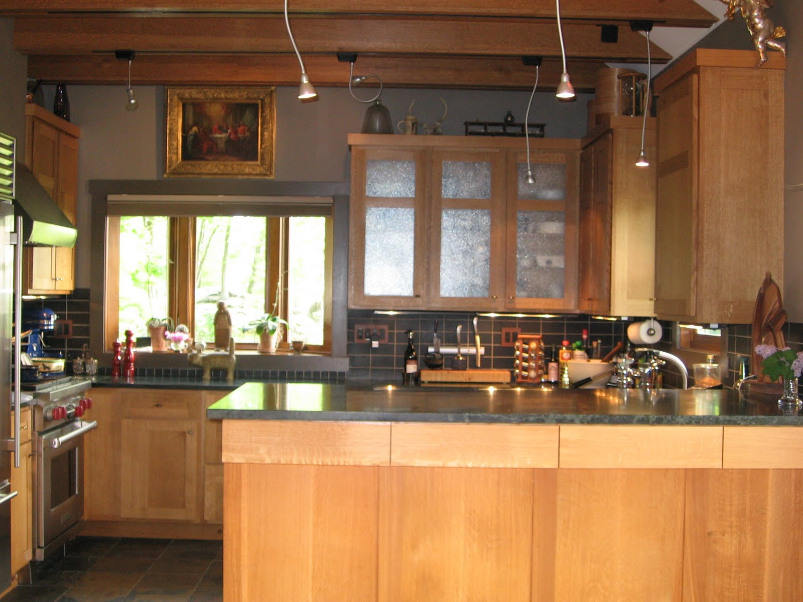 handcrafted custom quarter sawn white oak cabinetry features a simple