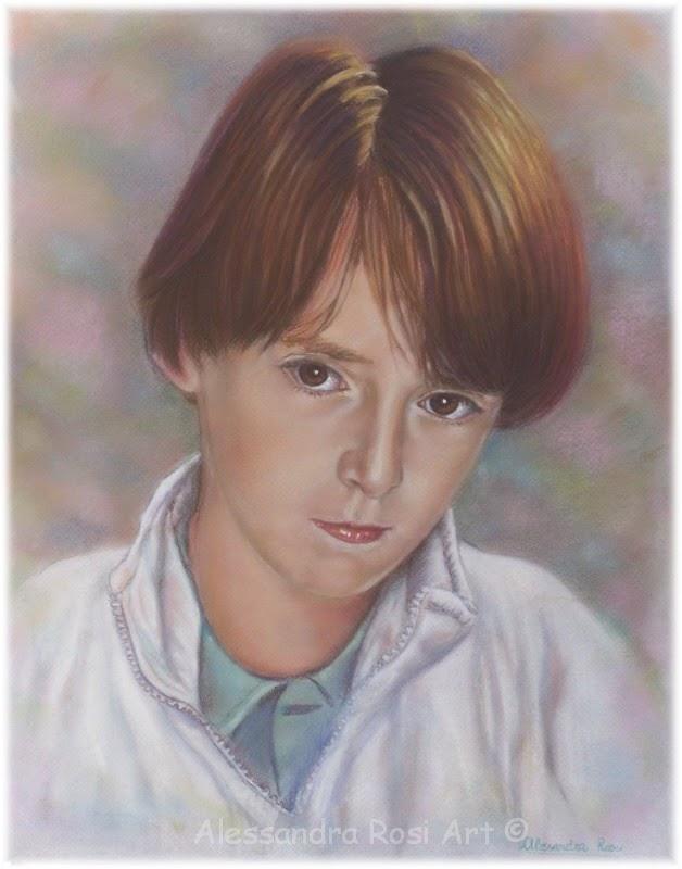 boy's portrait painting, hand-painted portraits, pastel portrait