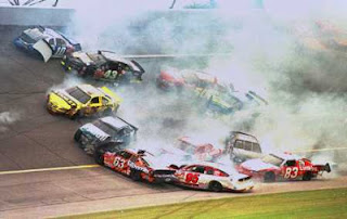 NASCAR, stock car racing, crashing and burning