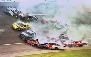 NASCAR, stock car racing, crashing and burning