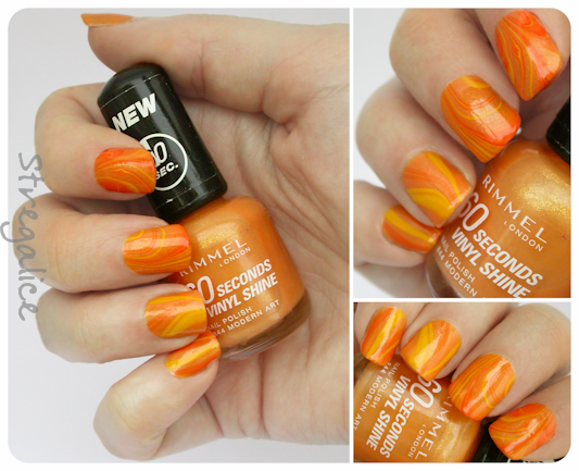 orange watermarble nailart