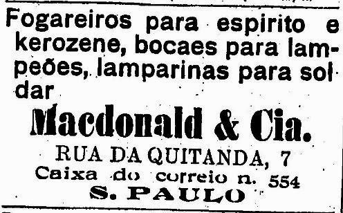 Loja de departamentos MacDonald em São Paulo semelhante ao nome Mc Donald's em 1910.