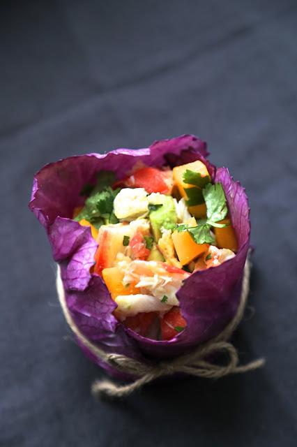 Salade très fraîche au crabe Kamchatka , mangue , avocat ,coriandre vraiment trop chou