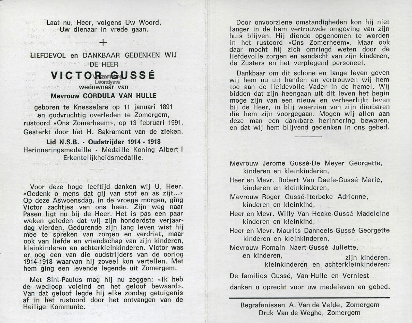 Bidprentje, Victor Gussé 1891-1991