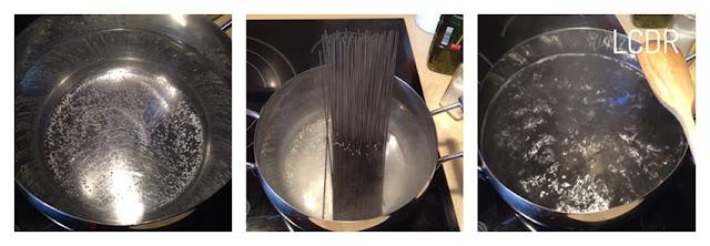 Receta de espaguetis negros con salmón 01