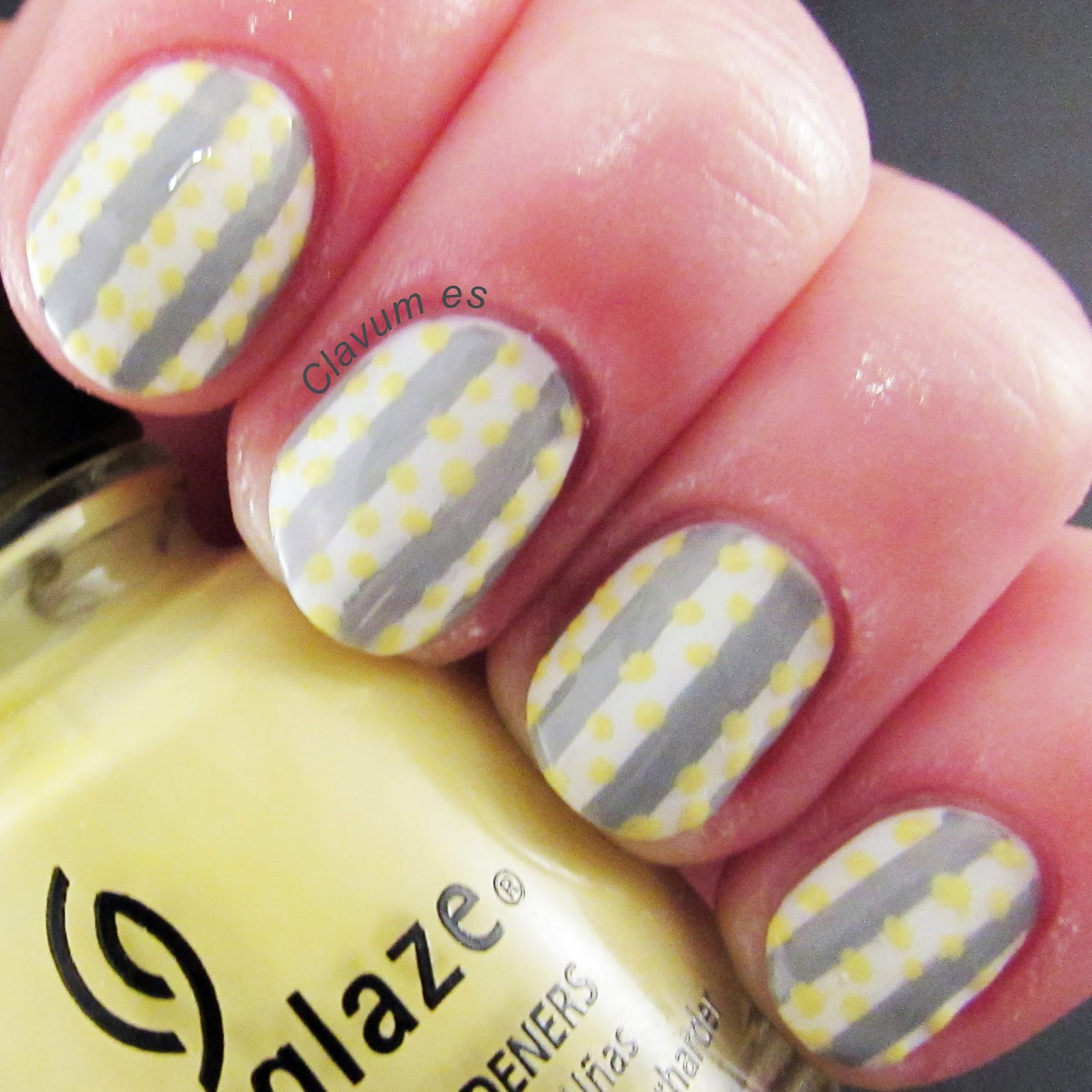 Yellow and Grey Pattern Nail Art