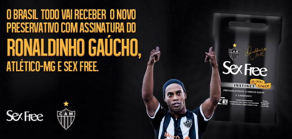 Ronaldinho wants you to have safe sex with his new line of condoms called 'Sex Free'