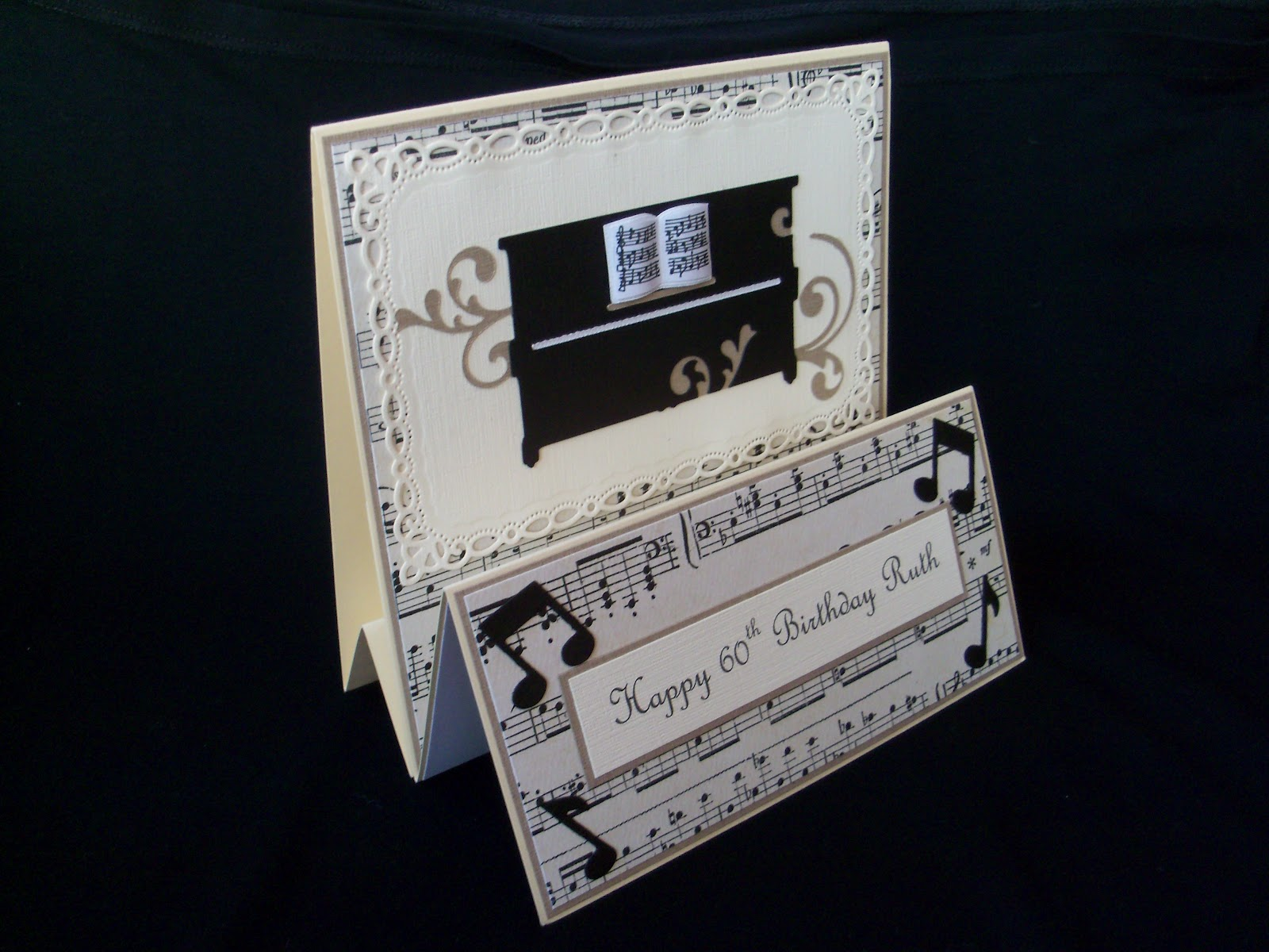 The Message And Piano Topper Were Matted Onto Backing Paper Scroll Music Fixed To Base Card