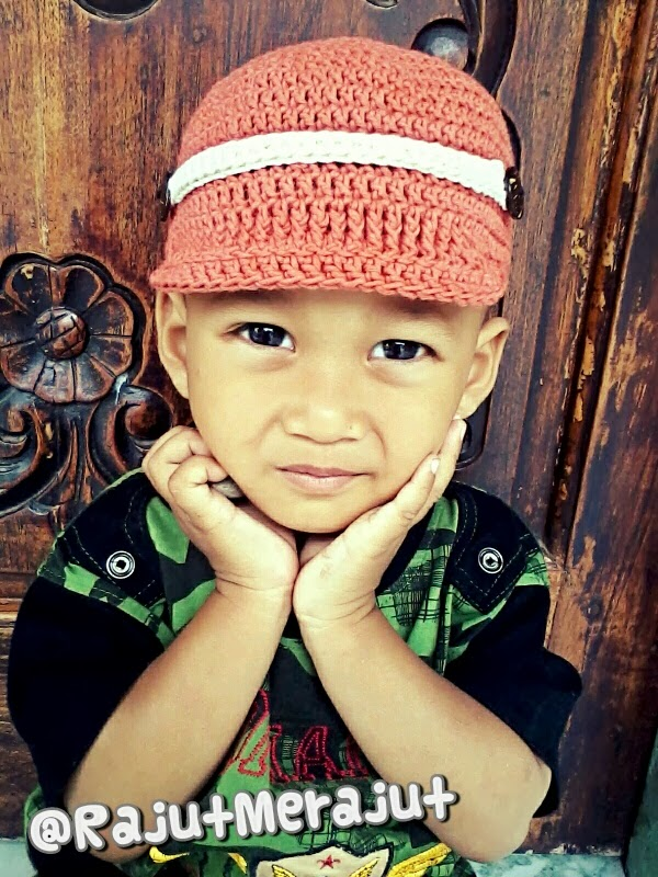 Topi Rajut bayi, crochet hat, crochet baby hat, crochet brim hat, songkok rajut, songkok bayi