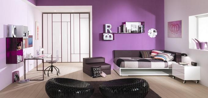 Dormitorio Juvenil Moderno en Lila, Blanco y Negro