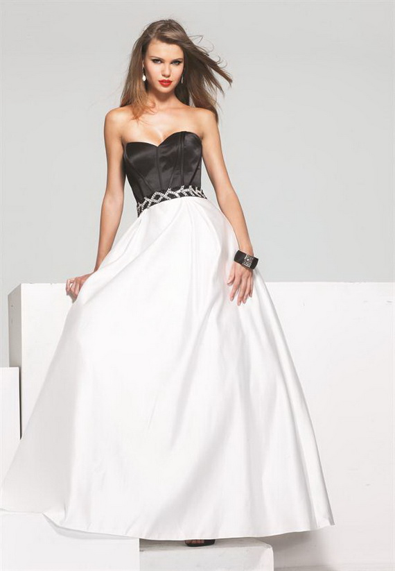 fashion: Black and White Prom Dresses 2012