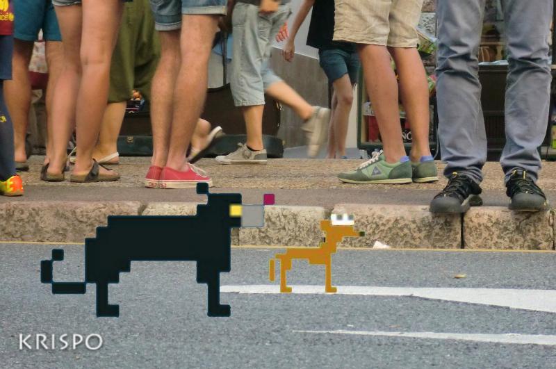 dos perros pixelados en la calle