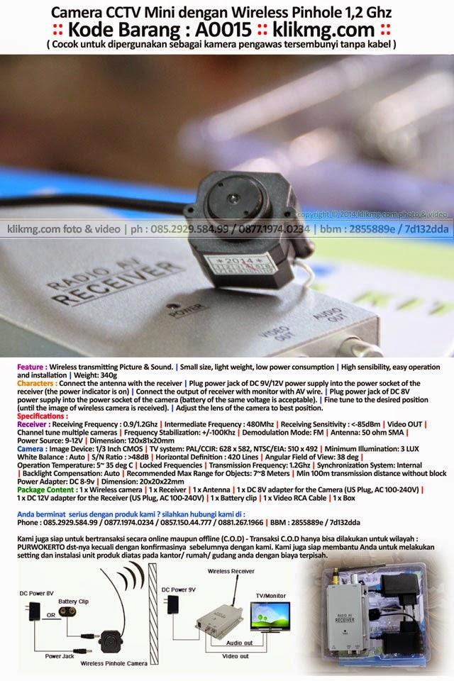 Camera CCTV Mini dengan Wireless Pinhole 1,2 Ghz - Kode Barang : A0015 - ( Cocok untuk dipergunakan sebagai kamera pengawas tersembunyi tanpa kabel )