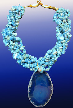 Blue TURQUOISE NUGGET Beads 6 Strands and AGATE Slice Necklace Aqua L