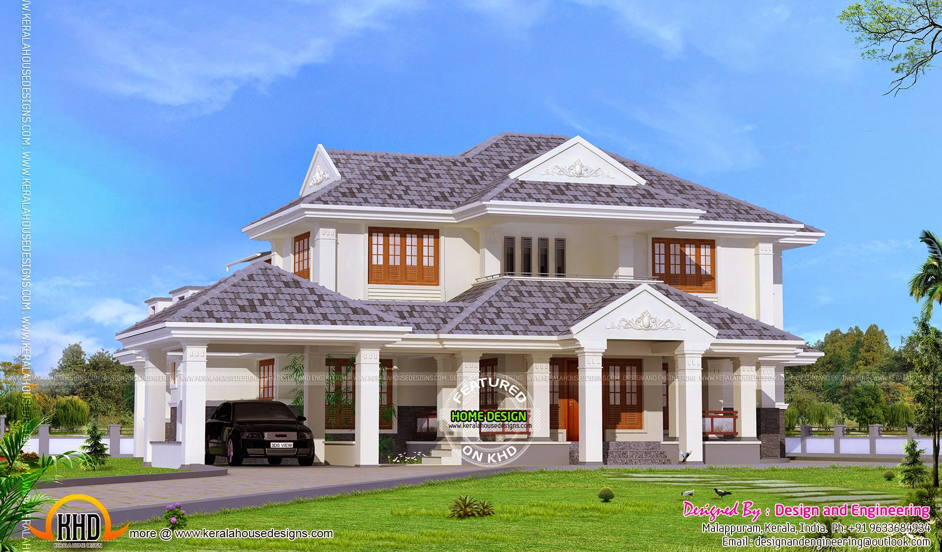 Kerala style 4 bedroom villa kerala home design and for Kerala style villa plans