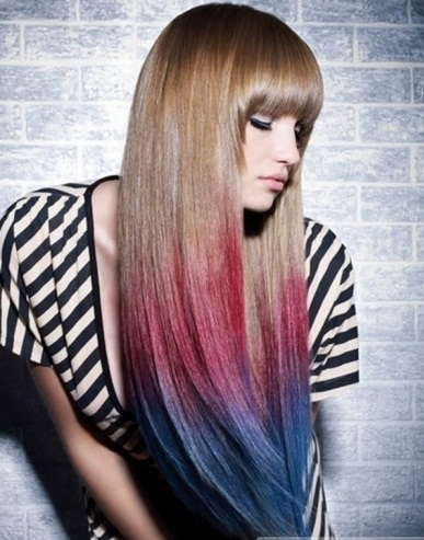 Pink/Blue Dip-Dyed Hair Color 2014