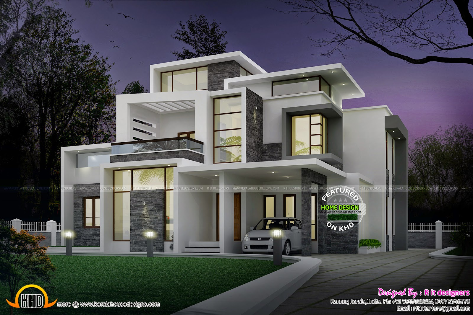 Grand contemporary home design kerala home design and for Modern 3 bedroom house plans and designs