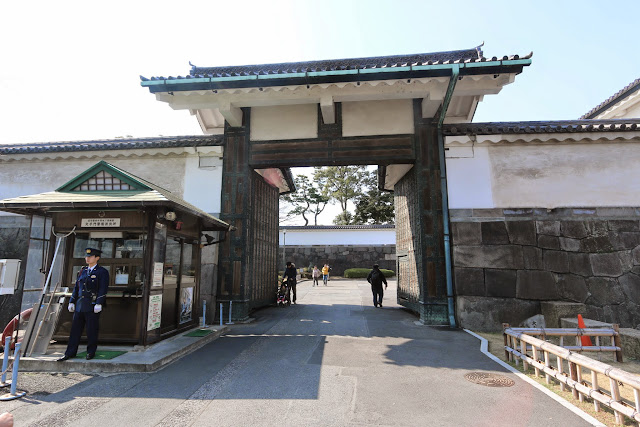 Close-up view of the Otemon main gate entrance of Imperial Palace East Garden which has been preserved until now in Tokyo, Japan