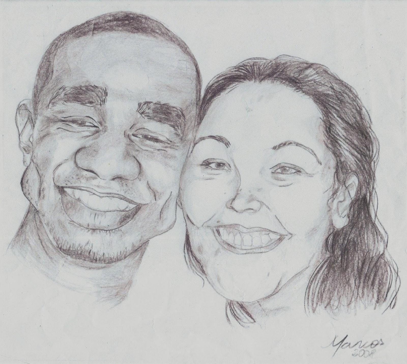 Caricaturas a lápis de casal de amigos.