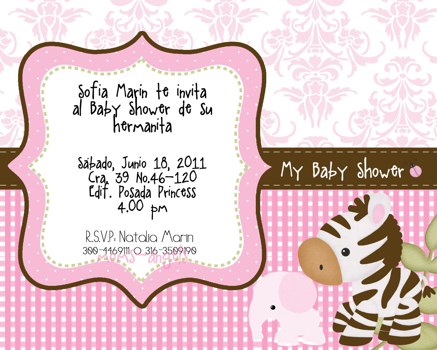 Moms-Angels: Invitacion Baby Shower Niña