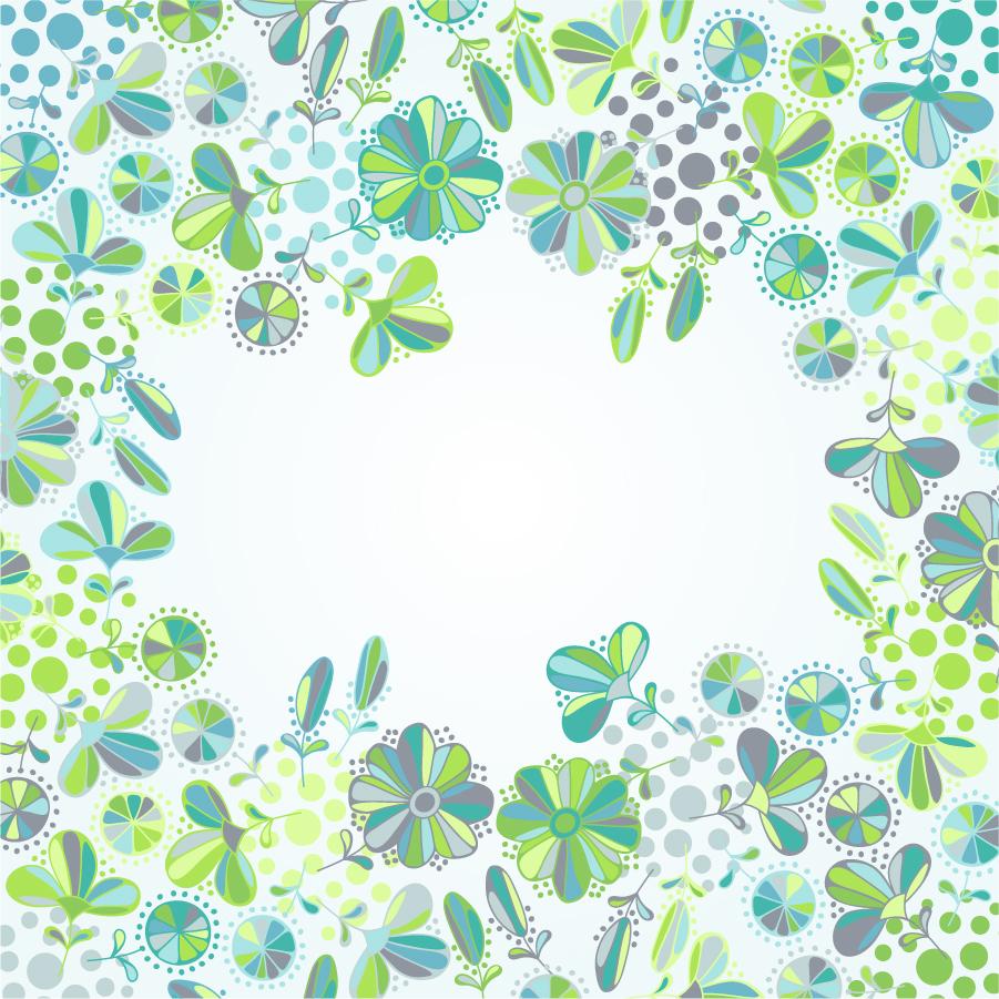 美しい緑の植物で囲んだフレーム Flowers Frame Vector イラスト素材