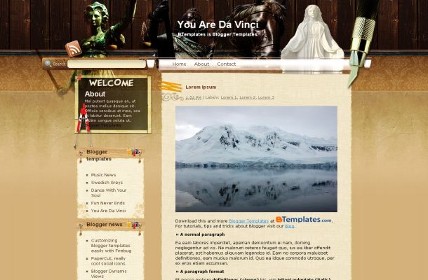 Free Vintage Art Brown Blogger Layout Template