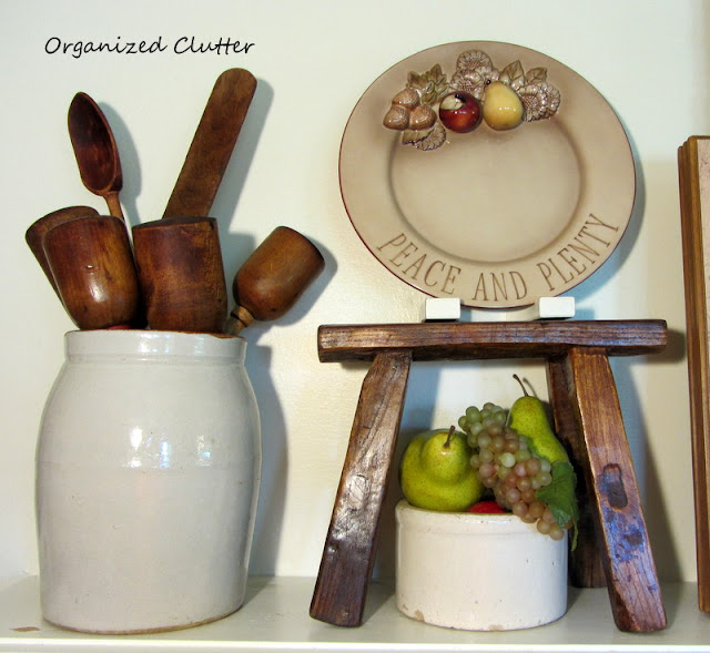 Early Fall Mantel, Crocks, Fruit, and Wood Accents