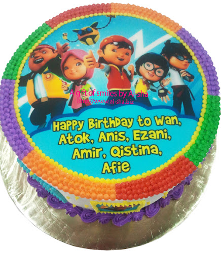 Rainbow Cake Edible Image Boboiboy