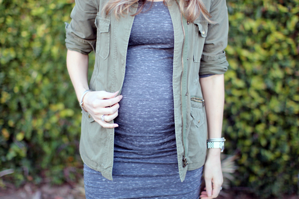 Ingrid & Isabel shirred maternity dress + Velvet fatigue jacket