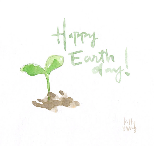 watercolor sketch of growing sprout plant for Earth Day