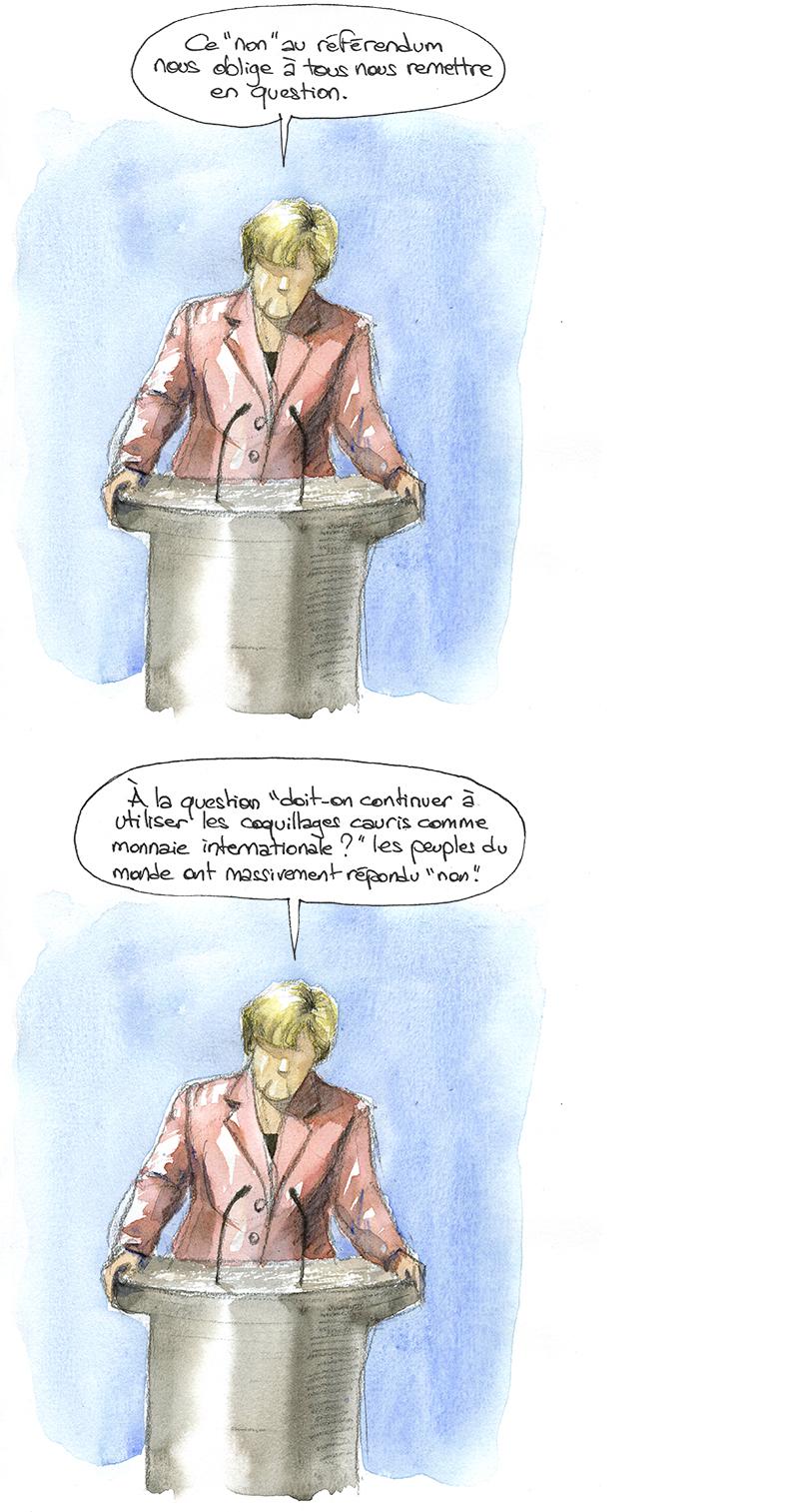 Angela Merkel, non au référendum, remise en question