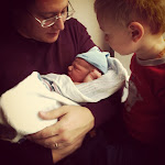 21 mo-old grandson Benton meets his baby brother Sawyer for the first time - on April 19