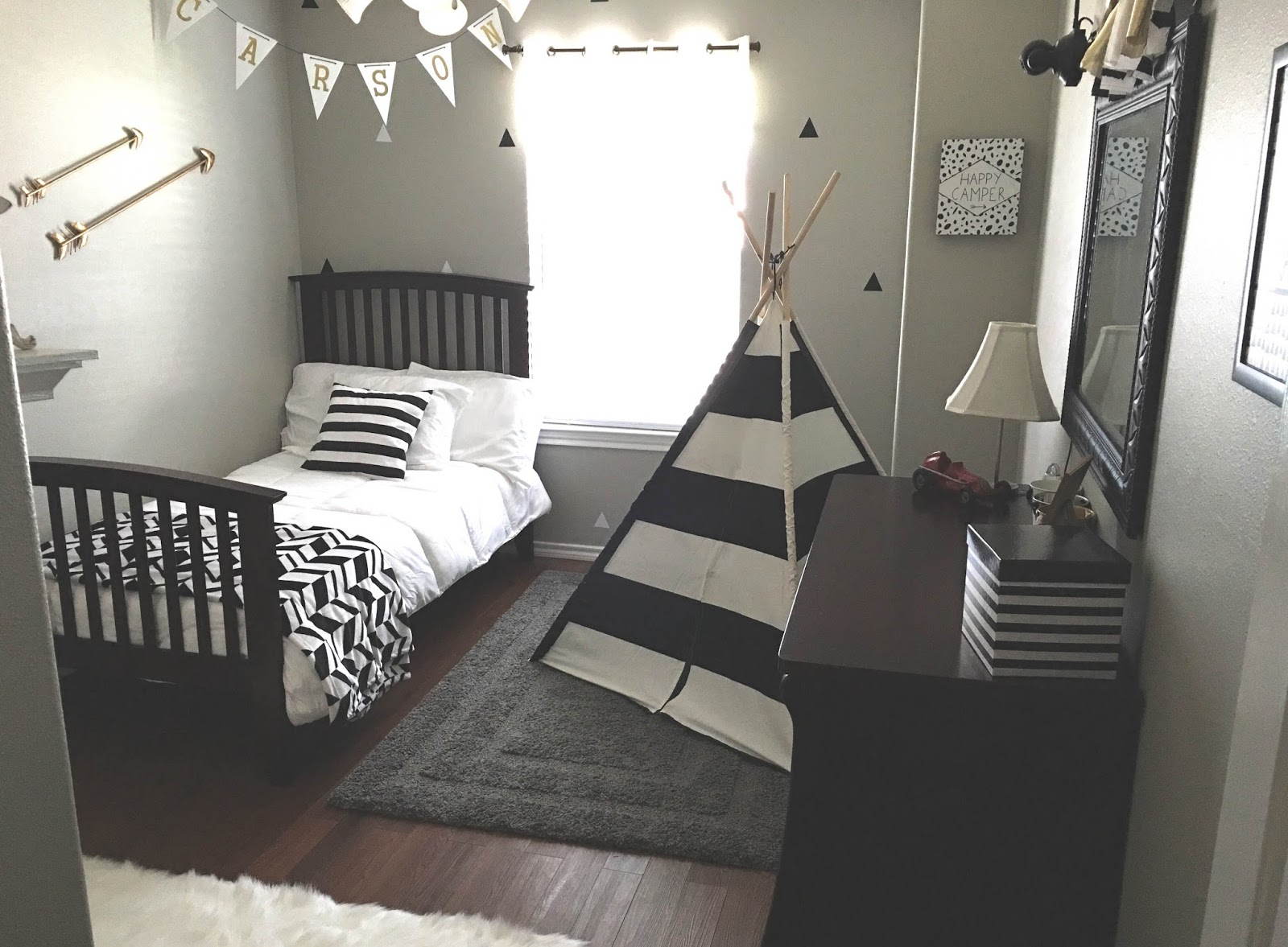 Gray Black White Gold Boy Room, Wall Decals, Black White Decals, Triangle  Wall
