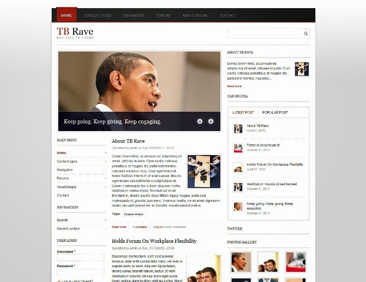 TB Rave Free Drupal Theme for magazine
