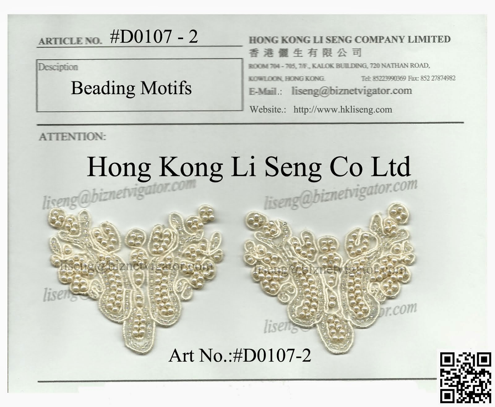 Beading Motif Manufacturer - Hong Kong Li Seng Co ltd