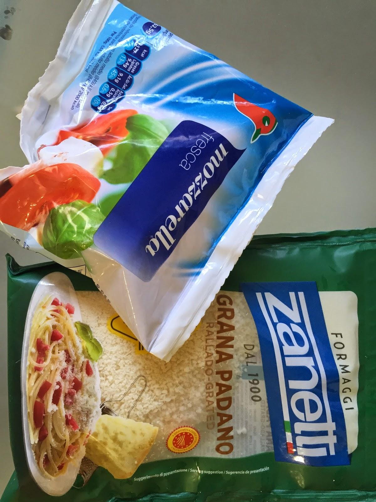 mozzarella y parmesano