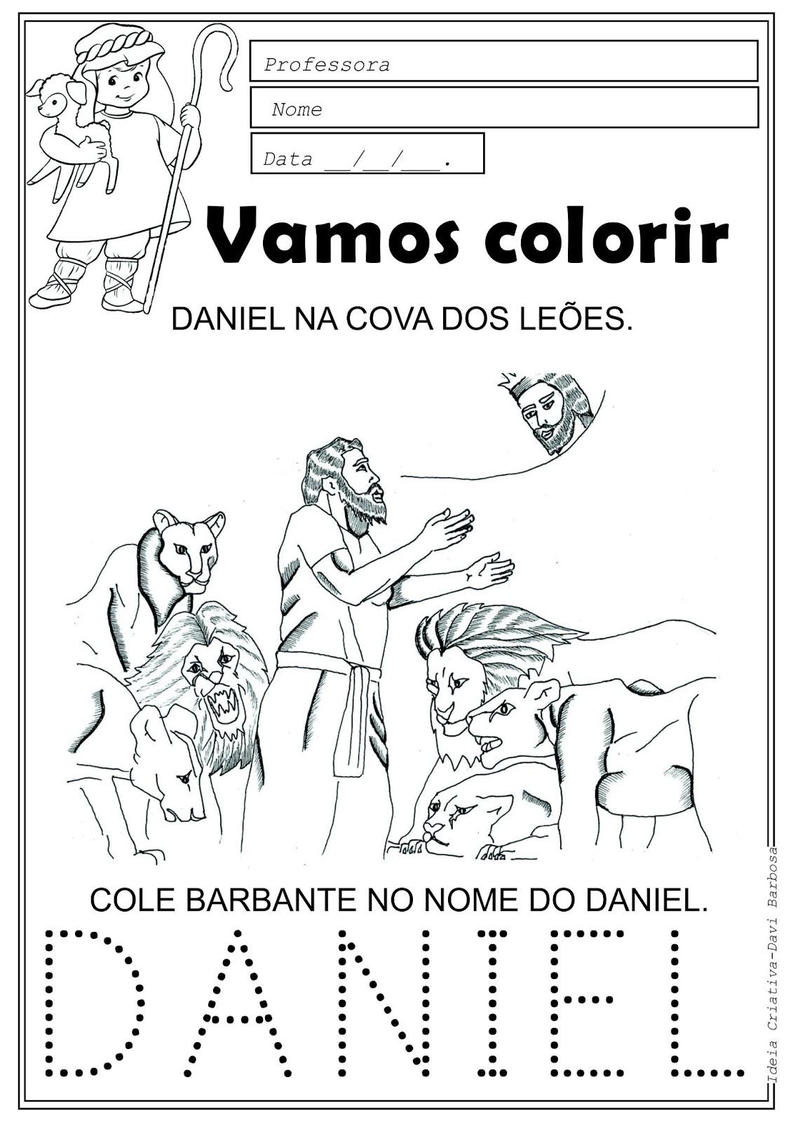 Desenho de Daniel na Cova dos Leões para colorir