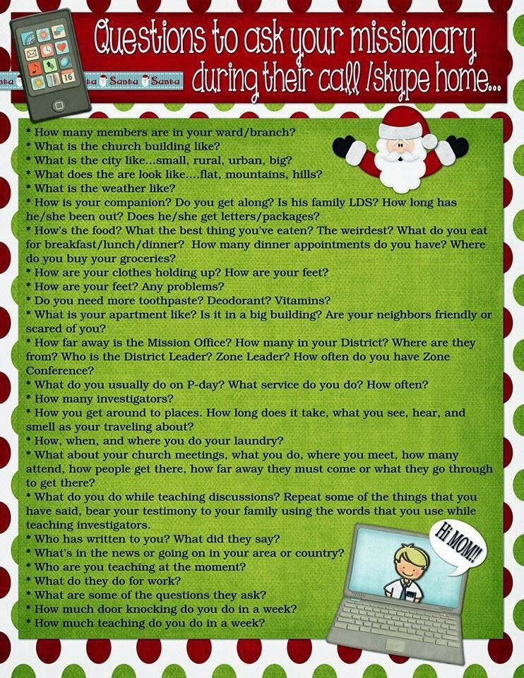 fun list of questions to ask your missionary during their christmas call or skype