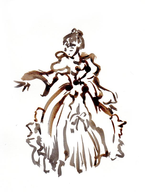Esquisse à l'encre d'une danseuse en crinoline