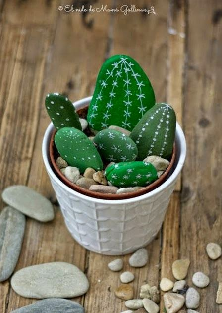 Diy painted rock cactus the idea king - Painting rocks for garden what kind of paint ...