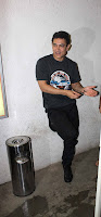 Aamir Khan snapped while dubbing for his film
