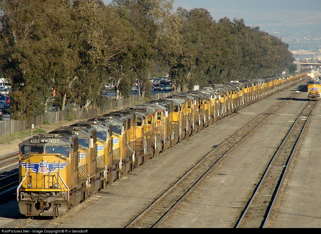 292 Union Pacific Train Engines Parked