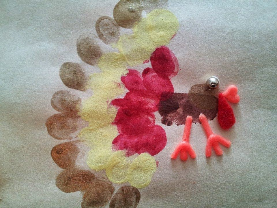 Fingerprint turkey craft, Thanksgiving craft, kids craft