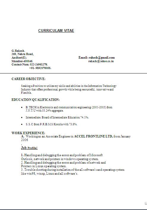 writing a resume objective