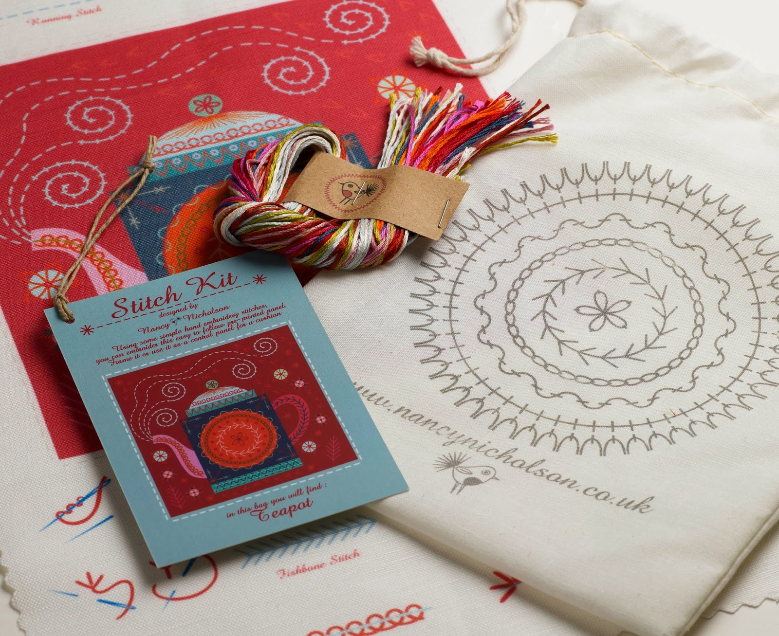 Teapot embroidery kit, unpacked